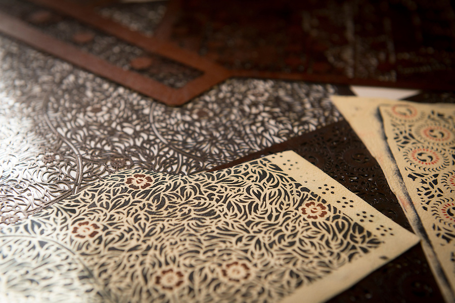 Stencils for staining leather. Robert Soanes Japanese Armour and Antiques Restorer, Brighton, UK, May 6, 2016. Craftsman Robert Soanes specializes in the restoration and conservation of samurai armour, swords and other Japanese fine art. He lives and works in the English seaside resort of Brighton.