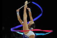 September 21, 2011; Montpellier, France;  EVGENIYA KANAEVA of Russia performs with ribbon at 2011 World Championships.