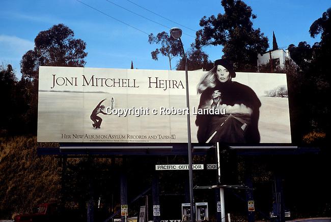 Joni Mitchell billboard on the Sunset Strip in Los Angeles, California