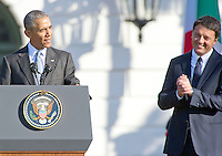 United States President Barack Obama makes remarks during an arrival ceremony at the start of an Official Visit in honor of Prime Minister Matteo Renzi and Mrs. Agnese Landini of Italy on the South Lawn of the the White House in Washington, DC on Tuesday, October 18, 2016. <br /> Credit: Ron Sachs / CNP /MediaPunch