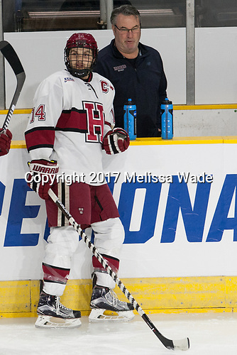 Alexander Kerfoot (Harvard - 14), John O'Donnell (Harvard - Equipment Manager) - The Harvard University Crimson defeated the Air Force Academy Falcons 3-2 in the NCAA East Regional final on Saturday, March 25, 2017, at the Dunkin' Donuts Center in Providence, Rhode Island.
