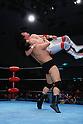 (T-B) Tsuyoshi Kikuchi, Jumbo Tsuruta,..1990s - Pro Wrestling :..Jumbo Tsuruta throws Tsuyoshi Kikuch during the All Japan Pro-Wrestling event at Korakuen Hall in Tokyo, Japan. (Photo by Yukio Hiraku/AFLO)