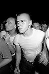 Skinhead Jimmy John in Camden Town at The Electric Ballroom  dancing to UB40.   London 1980.