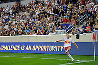 Joel Lindpere (20) of the New York Red Bulls. The New York Red Bulls defeated the Portland Timbers 2-0 during a Major League Soccer (MLS) match at Red Bull Arena in Harrison, NJ, on September 24, 2011.