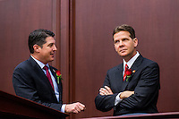 TALLAHASSEE, FLA. 1/12/16-House Speaker Steve Crisafulli, left, R-Merritt Island, left, talks with Senate President Andy Gardiner, R-Orlando, talk during the opening day of the 2016 legislative session, Tuesday at the Capitol in Tallahassee.<br /> <br /> COLIN HACKLEY PHOTO