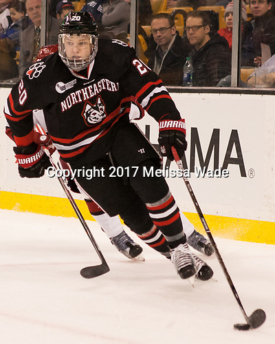 Eric Williams (NU - 20) - The Harvard University Crimson defeated the Northeastern University Huskies 4-3 in the opening game of the 2017 Beanpot on Monday, February 6, 2017, at TD Garden in Boston, Massachusetts.