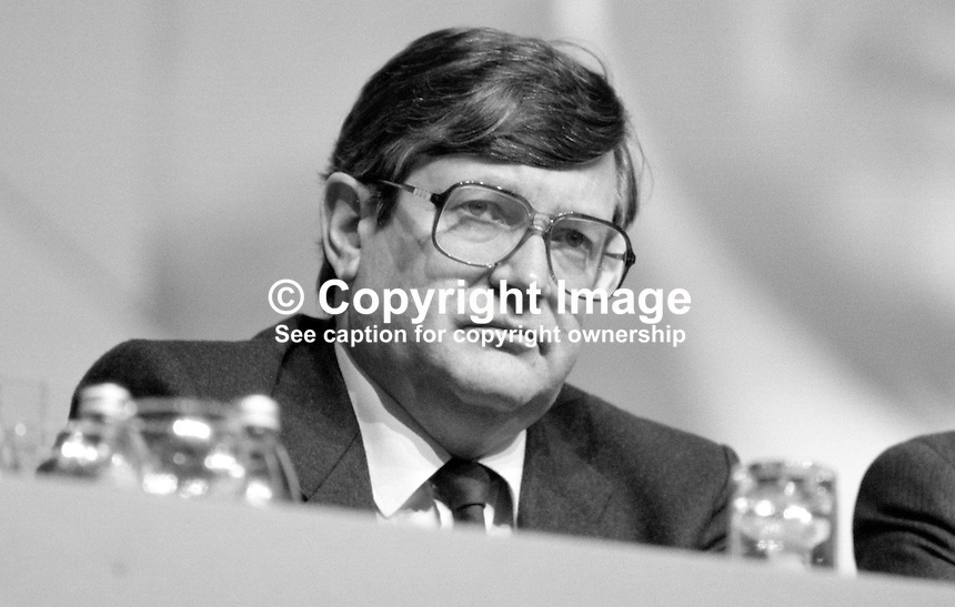 Ray Burke, TD, Fianna Fail, Minister for Energy &amp; Communications, Rep of Ireland, platform, Ard Fheis, 19880203RB1.<br />