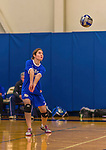 26 October 2014: Yeshiva University Maccabee Middle Blocker Shana Wolfstein, a Senior from Burlington,VT, in action against the Maritime College Privateers, at the College of Mount Saint Vincent, in Riverdale, NY. The Privateers defeated the Maccabees 3-0 in the NCAA Division III Women's Volleyball Skyline matchup. Mandatory Credit: Ed Wolfstein Photo *** RAW (NEF) Image File Available ***