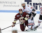 Patch Alber (BC - 27), Brodie Reid (Northeastern - 15) - The Northeastern University Huskies defeated the visiting Boston College Eagles 2-1 on Saturday, February 19, 2011, at Matthews Arena in Boston, Massachusetts.