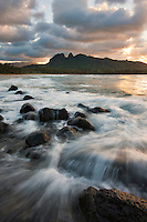 Anahola Bay at sunset on Kauai's east side