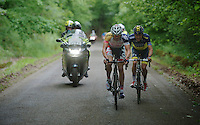 Adam Hansen (AUS) &amp; Christopher Juul Jensen (DNK) are the only 2 remaining riders from an early breakaway with about 15km to go<br /> <br /> 2013 Ster ZLM Tour <br /> stage 4: Verviers - La Gileppe (186km)