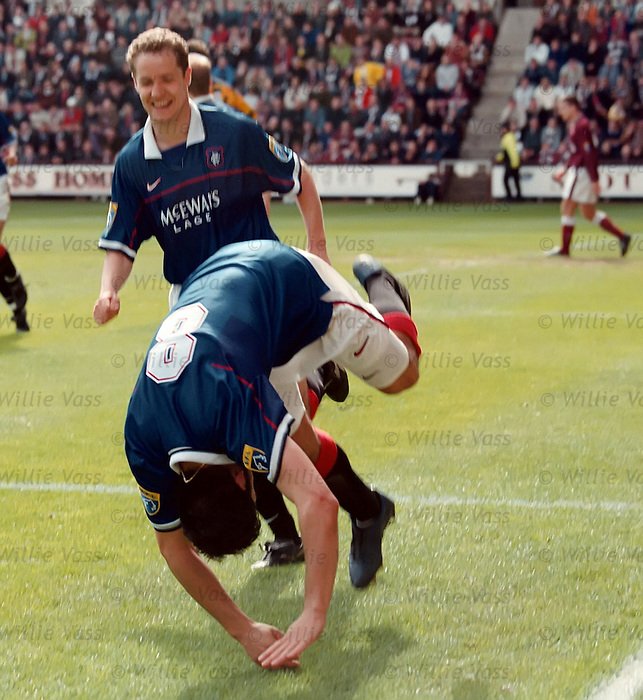 Rino Gattuso head over heels as he scores against Hearts at Tynecastle and gets acclaim from Alex Cleland