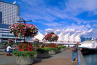 """Vancouver, BC, British Columbia, Canada - Hanging Flower Baskets at """"Granville Square"""", overlooking """"Canada Place"""" Trade and Convention Centre and Cruise Ship Terminal, Spring / Summer"""