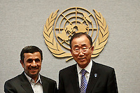 United Nations Secretary General Ban Ki-moon poses for a photo with Iranian President Mahmoud Ahmadinejad at the general U.N headquarters in New York, United States. 09/23/2012. Photo by Kena Betancur/VIEWpress.