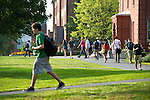 09/14/2011 - Medford/Somerville, Mass.  Students walk to and from classes in the early evening on the Medford/Somerville campus on Wednesday, September 14, 2011.  (Alonso Nichols/Tufts University)