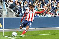 Edgar Mejia (8) midfield Chivas USA taking  a corner kick..Sporting Kansas City defeated Chivas USA 4-0 at Sporting Park, Kansas City, Kansas.