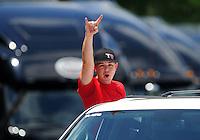 May 6, 2012; Commerce, GA, USA: NHRA top fuel dragster driver Steve Torrence celebrates a round win during the Southern Nationals at Atlanta Dragway. Mandatory Credit: Mark J. Rebilas-