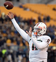 Miami quarterback Ryan Williams. The Miami Hurricanes defeated the Pitt Panthers 41-31 at Heinz Field, Pittsburgh, Pennsylvania on November 29, 2013.