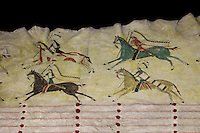 Animal skin robe with design of Indians riding on horseback, detail, made 1870s by Cheyenne artists, from bison hide, paint, quills, deer dewclaws, horse hair, and wool, from the collection of the Denver Art Museum, Denver, Colorado, USA. Picture by Manuel Cohen