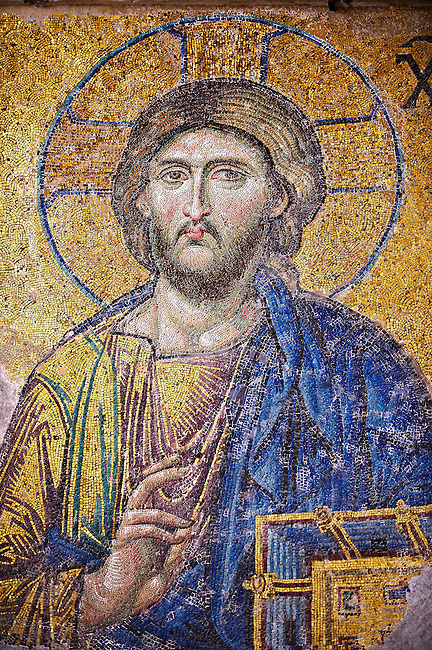 Byzantine De&euml;sis ( Entreaty) mosaic , 1261, detail of Christ Pantocrator for humanity on Judgment Day.   Hagia Sophia, Istanbul, Turkey