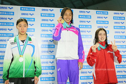 (L to R) <br /> Shiori Asaba, <br /> Runa Imai, <br /> Mia Yamamoto, <br /> MARCH 29, 2015 - Swimming : <br /> The 37th JOC Junior Olympic Cup <br /> Women's 200m Breaststroke <br /> 13-14 years old award ceremony <br /> at Tatsumi International Swimming Pool, Tokyo, Japan. <br /> (Photo by YUTAKA/AFLO SPORT)