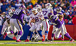 19 October 2014: Buffalo Bills quarterback Kyle Orton is pressured before a sack in the fourth quarter against the Minnesota Vikings at Ralph Wilson Stadium in Orchard Park, NY. The Bills defeated the Vikings 17-16 in a dramatic, last minute, comeback touchdown drive. Mandatory Credit: Ed Wolfstein Photo *** RAW (NEF) Image File Available ***