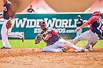 21 March 2015: Atlanta Braves infielder Pedro Ciriaco is unable to come up with the ball at second during a Split Squad Spring Training game against the Washington Nationals at Champion Stadium at the ESPN Wide World of Sports Complex in Kissimmee, Florida. The Braves defeated the Nationals 5-2 in Grapefruit League play. Mandatory Credit: Ed Wolfstein Photo *** RAW (NEF) Image File Available ***
