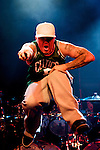 MADRID, SPAIN - SEPTEMBER 12: Fred Durst of Limp Bizkit performs live on the stage at La Riviera on September 12, 2010 in Madrid, Spain. (Photo by Juan Naharro Gimenez)