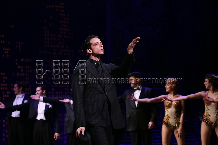 "Nick Cordero during the Broadway Opening Night Performance Curtain Call for ''Bullets Over Broadway'""at the St. James Theatre on April 10, 2014 in New York City."