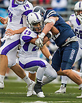 8 October 2016: Amherst College Purple & White Running Back Hasani Figueroa, a Junior from Bronx, NY, is taken down by Middlebury College Panther Linebacker Clay Hunt, a Sophomore from Old Brookville, NY, at Alumni Stadium in Middlebury, Vermont. The Panthers edged out the Purple & While 27-26. Mandatory Credit: Ed Wolfstein Photo *** RAW (NEF) Image File Available ***