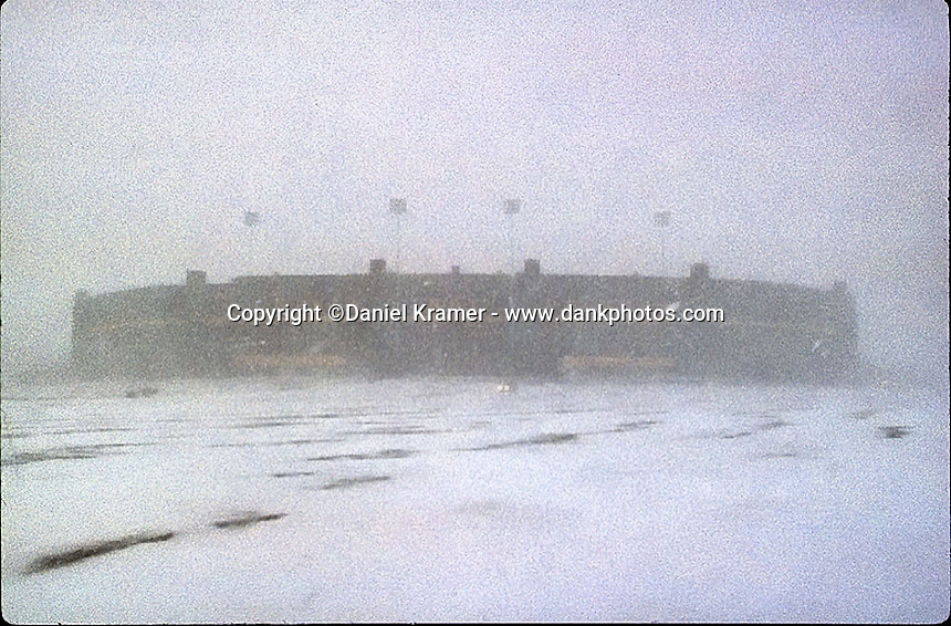Lambeau Field during a Christmas Eve blizzard in 1996.
