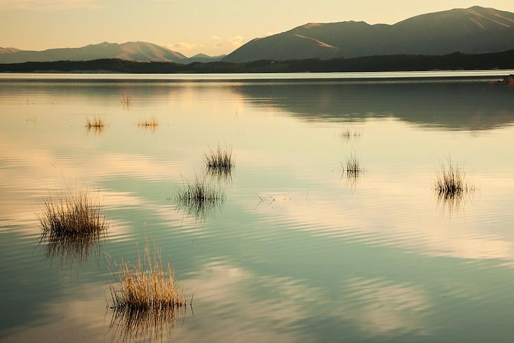 Clouds reflected the waters of Lake Pukaki, Mackenzie Basin South Island, New Zealand - stock photo, canvas, fine art print