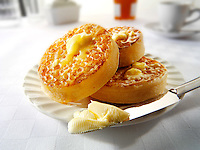 Buttered crumpets.