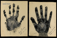 BNPS.co.uk (01202) 558833.Picture: collect..The handprint of Louise Brooks, actress..An incredible collection of signed handprints of famous names from 1920s Germany including Albert Einstein and Marlene Deitrich has come to light. Prints of composers Richard Strauss and Igor Stravinsky, filmmaker Fritz Lang, painter Max Liebermann, playwright Bertolt Brecht and gay rights pioneer Magnus Hirschfeld also feature in the fascinating set by German palmist Marianne Raschig. ..She spent 60 years taking more than 2,000 handprints of around 1,000 leading artists, actors, scientists, musicians and writers in Berlin. Raschig collected the handprints between the 1870s and 1930s for a study into what the lines and shapes of hands could reveal about a person's character. Her collection is now set to sell for more than £90,000 at auction.