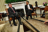 United States President Barack Obama (R) and King Abdullah II of Jordan deliver remarks to the news media after a meeting in the Oval Office at the White House January 17, 2012 in Washington, DC. Sensing a vaccum in peace negotiations left by Egypt's former President Hosni Mubarak, Abdullah talked with Obama about attempts to restart peace talks between Israel and the Palestinians. .Credit: Chip Somodevilla / Pool via CNP