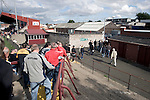 Supporters of Alloa Athletc football club making their way out of Ochilview stadium, Larbert, after their Irn Bru Scottish League second division match against Stenhousemuir. Alloa won the match by one goal to nil against their local rivals in a match watched by 619 spectators.