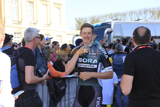 Marcus Burghardt (GER) Bora-Hansgrohe team at the Team Presentation for the upcoming 115th edition of the Paris-Roubaix 2017 race held in Compiegne, France. 8th April 2017.<br /> Picture: Eoin Clarke | Cyclefile<br /> <br /> <br /> All photos usage must carry mandatory copyright credit (&copy; Cyclefile | Eoin Clarke)