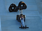 Jan. 20, 2012; Jupiter, FL, USA: Aerial view of NHRA top fuel dragster driver Doug Kalitta during testing at the PRO Winter Warmup at Palm Beach International Raceway. Mandatory Credit: Mark J. Rebilas-