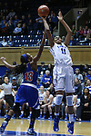 19 December 2014: Duke's Azura Stevens (11) shoots over UMass Lowell's Shannon Samuels (13). The Duke University Blue Devils hosted the University of Massachusetts Lowell River Hawks at Cameron Indoor Stadium in Durham, North Carolina in a 2014-15 NCAA Division I Women's Basketball game. Duke won the game 95-48.