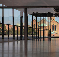 The Neue Nationalgalerie or New National Gallery, a modern art museum at the Kulturforum in West Berlin, Germany. The building and its sculpture gardens were designed by Ludwig Mies van der Rohe, 1886-1969, and opened in 1968. In the background is the St Matthaus-Kirche. Picture by Manuel Cohen