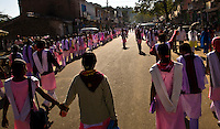 School girls peacefully protesting a lack of qualified teachers.<br /> (Photo by Matt Considine - Images of Asia Collection)