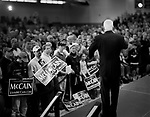 """Senator John McCain, Republican presidential candidate, campaigning for """"Super Tuesday"""" votes. St. Louis, Missouri, February 1, 2008."""