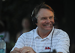 Head coach Houston Nutt does his weekly radio show following an Ole Miss pep rally in the Grove in Oxford, Miss. on Thursday, September 1, 2011.