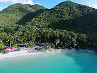 Aerial view of Maho Bay<br />