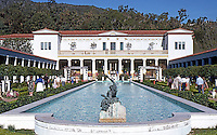 Malibu CA: J. Paul Getty Museum--elevation, pool.  Photo '86.