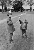 A child plays William Tell during the St George's festival in the gardens of Wrest Park, near Silsoe, Bedfordshire.