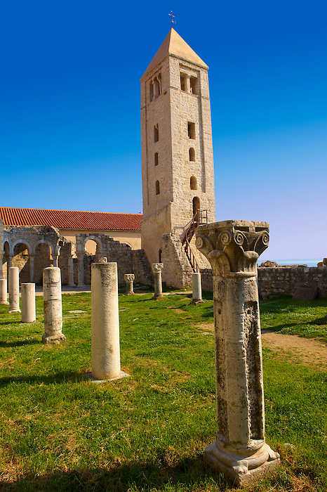 The Romanesque Bell Tower  and medieval pillars of the church of St John The Evengelist.  Rab Island, Craotia