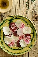 Detail of beetroot, daikon and radish salad