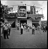 Al Qaouzah, South Lebanon, September 2006.The village mosq at the end of the evening prayer. Most of South Lebanon is Chi'ite in its majority, Hezbollah being very popular .