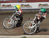 Heat 15 - Bjerre (green),  Andersen - Lakeside Hammers vs Peterborough Panthers - Sky Sports Elite League at Arena Essex, Purfleet - 31/08/07  - MANDATORY CREDIT: Gavin Ellis/TGSPHOTO - SELF-BILLING APPLIES WHERE APPROPRIATE. NO UNPAID USE. TEL: 0845 094 6026..